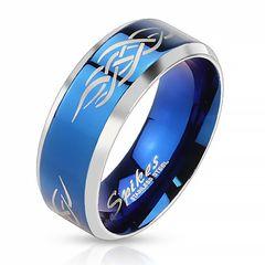 Herrenring Edelstahl Ring Herren Tribal Biker Bandring Gothic schwarz blau gold