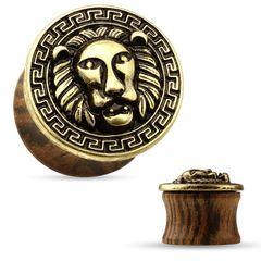 Holz Plug Löwe Ohr Piercing Sattel Saddle Fit Double Flared Organic Wood Lion antik