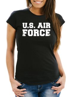 Damen T-Shirt U.S. Air Force Fun-Shirt Fasching Verkleidung Karneval Kostüm Moonworks®
