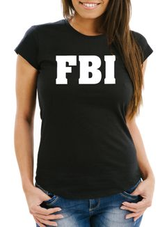 Damen T-Shirt FBI Aufdruck Faschings-Shirt Kostüm Verkleidung Karneval Fun-Shirt Moonworks®
