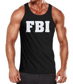 Herren Tanktop FBI Aufdruck Faschings-Shirt Kostüm Verkleidung Karneval Fun-Shirt Muskelshirt Moonworks®
