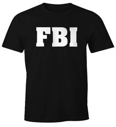 Herren T-Shirt FBI Aufdruck Faschings-Shirt Kostüm Verkleidung Karneval Fun-Shirt Moonworks®