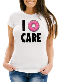 Damen T-Shirt I Donut care I do not care don´t care Slim Fit Moonworks®
