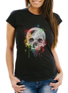 Damen T-Shirt - Skull Totenkopf Neon Splatter - Comfort Fit MoonWorks®