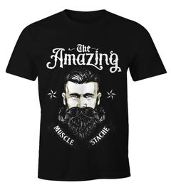 Herren T-Shirt - Beard The Amazing Muscle Mustache Bart Barber Shop Barbier Hipster Bartträger - Moonworks