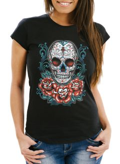 Damen T-Shirt - Muerte Day of Dead Totenkopf Rockabilly Sugar Skull Tattoo Blumen - Comfort Fit MoonWorks®