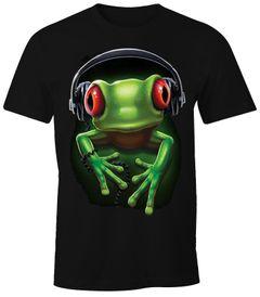 Herren T-Shirt - Frosch Frog DJ Kopfhörer - Comfort Fit MoonWorks®
