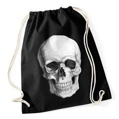 Turnbeutel Totenkopf Hipster Beutel Tasche Skull Jutebeutel Beuteltasche Gym Bag