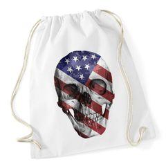 Turnbeutel Totenkopf amerikanische Flagge Amerika America Flag Skull Gymbag