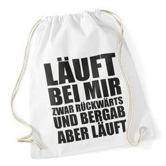 """Turnbeutel mit Sprüchen """"läuft bei mir"""" Hipster Beutel Tasche Jutebeutel Gymbag"""