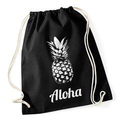 Turnbeutel Hipster Beutel Tasche Aloha Ananas Jutebeutel Stringbag Baumwollbeutel