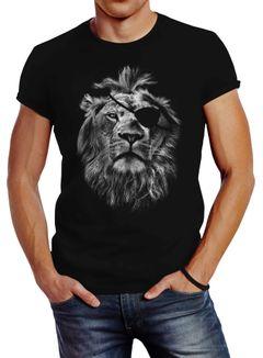 Cooles Herren T-Shirt Löwe Print Aufdruck Motiv Slim Fit Neverless®