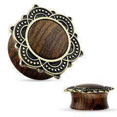 Holz Plug Ornament Vintage Antik Ohr Piercing Tribal Blume Rose of Sharon Ethno