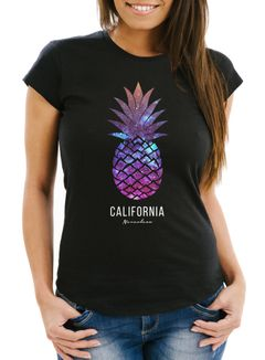 Damen T-Shirt Ananas Galaxy Galaxie Wasser Ozean Slim Fit Neverless®
