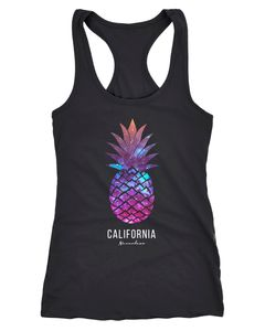 Damen Tank-Top Ananas Galaxy Galaxie Wasser Ozean Racerback Neverless®