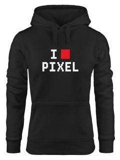 Kapuzen-Pullover Damen I Love Pixel Hoodie Moonworks®