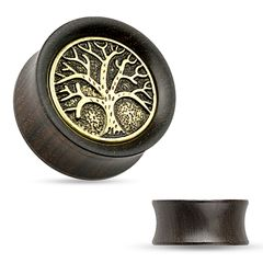 Holz Plug Flesh Tunnel Lebensbaum Wood Ear Plug Saddle Fit Organic Tree of Life