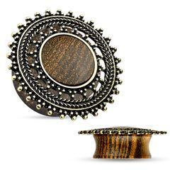 Holz Plug Flesh Tunnel Wood Ear Plug Saddle Fit Organic Vintage Ethno Piercing