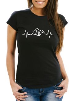 Damen T-Shirt Herzschlag Berge Heartbeat Mountain Slim Fit Moonworks®
