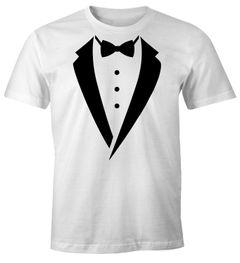 Anzug T-Shirt Smoking Tuxedo Anzug Aufdruck Fun-Shirt Moonworks®