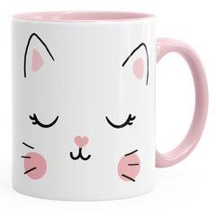 Kaffee-Tasse Katze Katzengesicht Cat Teetasse Keramiktasse MoonWorks®