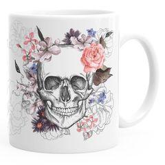 Kaffee-Tasse Totenkopf Blumen Flower Skull Boho Schädel Teetasse Keramiktasse Autiga®