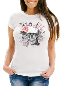 Damen T-Shirt Totenkopf Blumen Flower Skull Boho Schädel Slim Fit Neverless®