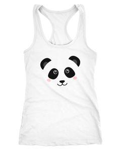 Damen Tanktop Panda Gesicht Pandabär Tiergesichter Racerback Moonworks®
