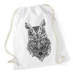 Turnbeutel Eule Aztekenmuster Boho Aztec Owl Hipster Beutel Tasche Bohemian Autiga®
