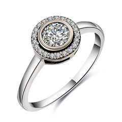 edler Damen-Ring mit Zirkonia Stein, Verlobungsring, Solitär-Ring, 925 Sterling Silber Autiga®