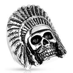 Ring Herren Totenkopf Indiander Biker Skull Gothic Punk Massiv Rocker Edelstahl