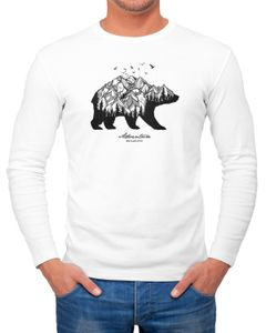 Herren Long-Sleeve Bär Berge Wald Bear Mountains Adventure Langarm-Shirt Neverless®
