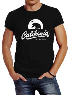 Herren T-Shirt California Republic Bear Kalifornien Bär Sommer Slim Fit Neverless®