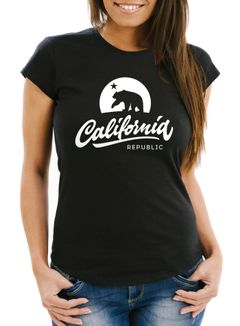 Damen T-Shirt California Republic Bear Kalifornien Bär Sommer Slim Fit Neverless®