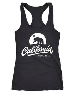Damen Tank-Top California Republic Bear Kalifornien Bär Sommer Racerback Neverless®