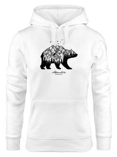 Hoodie Damen Bär Abenteuer Berge Wald Bear Mountains Adventure Kapuzen-Pullover Neverless®