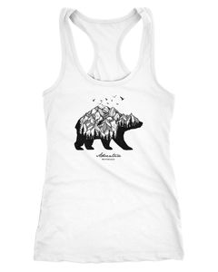 Damen Tank-Top Bär Berge Wald Bear Mountains Adventure Racerback Neverless®
