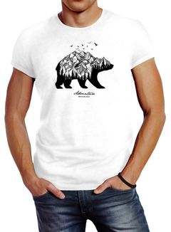 Herren T-Shirt Bär Abenteuer Berge Wald Bear Mountains Adventure Slim Fit Neverless®