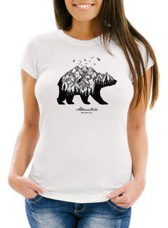 Damen T-Shirt Bär Berge Wald Abenteuer Bear Mountains Adventure Slim Fit Neverless®