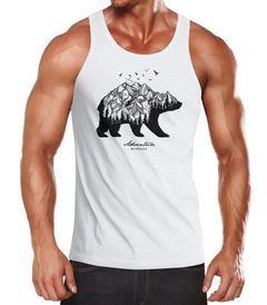 Herren Tank-Top Abenteuer Bär Berge Wald Bear Mountains Adventure Muskelshirt Muscle Shirt Neverless®