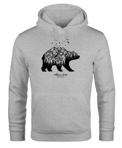 Hoodie Herren Bär Abenteuer Berge Wald Bear Mountains Adventure Kapuzen-Pullover Männer Neverless®