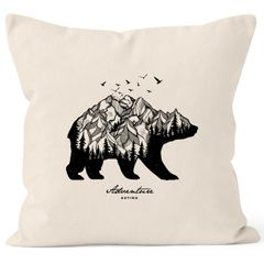 Kissenbezug Bär Berge Wald Abenteuer Bear Mountains Adventure Kissen-Hülle Deko-Kissen Baumwolle Autiga®