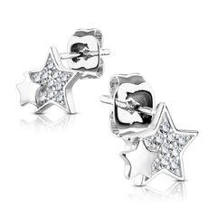 Zirkonia Ohrstecker 925 Sterling Silber Damen Ohrringe Geschenk Stern