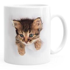 Kaffee-Tasse mit süßem Katzen-Aufdruck Katzen Baby schaut aus der Tasse MoonWorks®