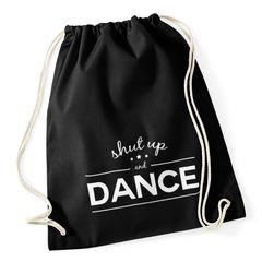 Turnbeutel Shut up and dance Techno Party Beutel Tasche Baumwolle Gymbag Stringbag