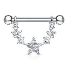 Brustwarzen Piercing Nippelpiercing Brustpiercing Stern Sterne Zirkonia Kristalle Autiga®