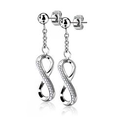 1 Paar Damen Ohrstecker Ohrringe Edelstahl Infinity Unendlichkeit Autiga®