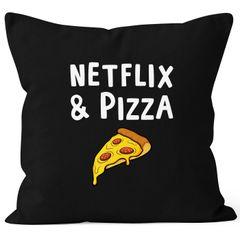 Kissen-Bezug Netflix & Pizza Kissen-Hülle Deko-Kissen Baumwolle MoonWorks®