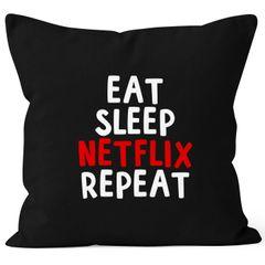 Kissen-Bezug Eat sleep Netflix repeat Kissen-Hülle Deko-Kissen Baumwolle MoonWorks®