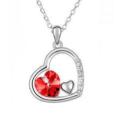 Halskette Herz Damen 3 Herzen Doppelherz mit Zirkonia Kristall Strass Silber